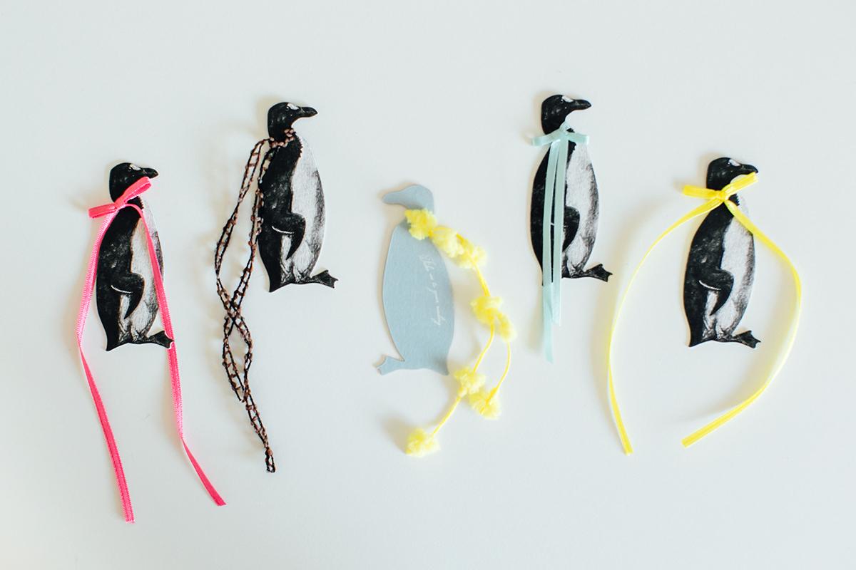 2017年の年賀状デザイン ペンギンしおりリボンいろいろ