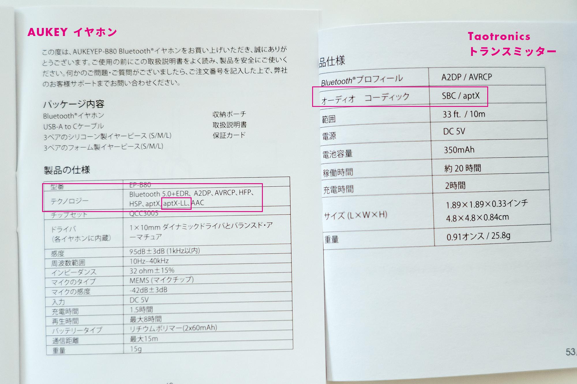 AUKEYワイヤレスイヤホン・TaoTronics Bluetooth トランスミッター 説明書 aptx-LLの記載